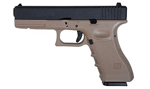 Pistola Airsoft GBB Glock 17 G17 Saigo Defense Gas blowback corredera metálica Cuerpo Color Tan árido Coyote Potencia 1 Julio Cargador de Gas Incluido 6 mm