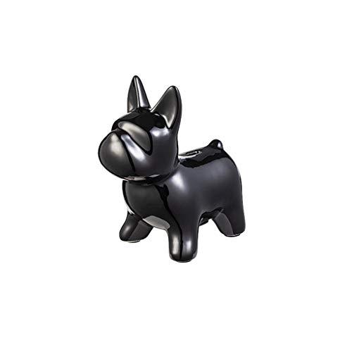 LICHUAN Cerámica Perro Piggy Bank Money Box Lindo Animal Dinero Ahorro Tarjeta Dinero Titular Dinero Saving Pot con Tapón Regalos de Juguete para Niños Juguete Divertido Regalo (Color : Black)