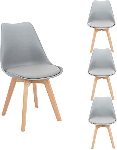 Flamingo Casa set di 4 sedie da sala pranzo, cucina, bar, a forma tulipano seduta con gambe in legno faggio ufficio sedia,Grigio
