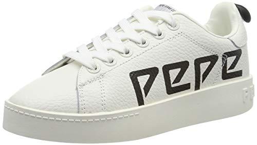 Pepe Jeans London Brixton Archieve, Scarpe da Ginnastica Basse Donna, Bianco (White 800), 39 EU
