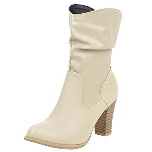 ELEEMEE Damen Mode Blockabsatz Slouch Stiefel Pull on Knöchel High Stiefel Beige Gr 48 Asiatisch
