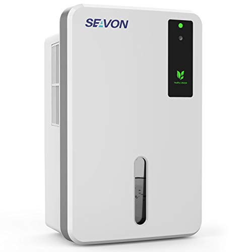SEAVON Upgraded Dehumidifier for 2600 Cubic Feet(280 sq ft), 50oz(1500ml) Capacity, Portable, Compact and Quiet Dehumidifiers for Home, Basements, Bedroom, Bathroom, Garage, RV with Auto Shut Off.