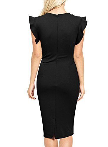 Miusol Rundhals Abendkleid mit Falte Etuikleid Knielanges Kleid - 2