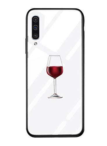 Suhctup Vidrio Templado Case Compatible con Samsung Galaxy Note 9 Funda Transparente Lindo Dibujos Cristal Templado Trasera Carcasa con Suave Silicona TPU Bumper Anti-Amarilla Cover,Copa Vino
