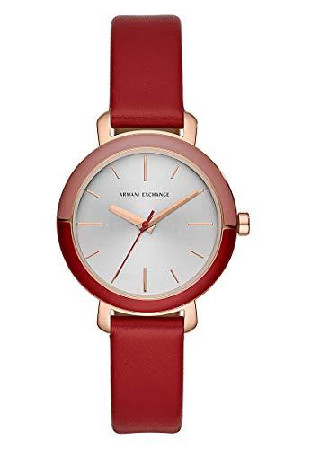 Armani Exchange Damen Analog Quarz Uhr mit Leder Armband AX5703
