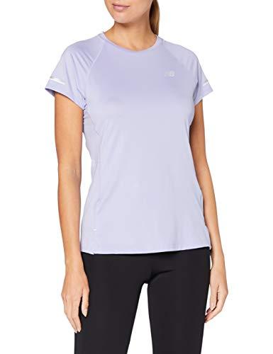 New Balance NB Ice 2.0 SS T-Shirt de Course à Manches Courtes pour Femme L Améthyste Transparente.