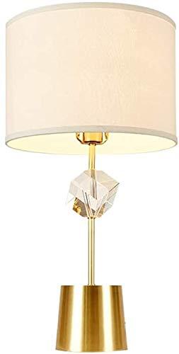 Lámpara de mesa de cristal, forma cuadrada creativa lámpara de mesa de cristal lámpara champán moderno tela sombra led escritorio lámpara metal base decorativa lámpara de mesa adecuada para boda/sal