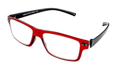 Edison & King Lesebrille mit Flexbügeln Stärken - Nerdbrille - transparent – zweifarbig - Etui inklusive (Rot-Schwarz, 1,50 dpt)