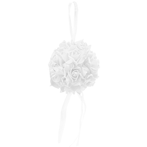 ruiruiNIE Kissing Pomander Ball Rosenblüten Form Ball Pew Bows Hochzeit Party Supplies Neu - Weiß