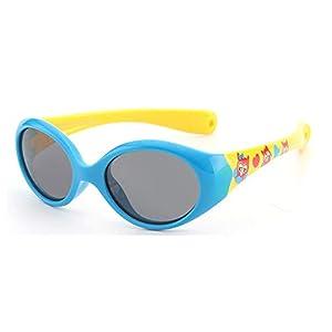 FOURCHEN Gafas de sol para bebés pequeños, 100% resistentes a los rayos UV, gafas de sol para niños pequeños para niños de 0 a 4 años (blue- yellow)
