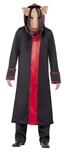 Halloween! Smiffys Kostüm SAW Pig, Schwarz, mit Maske und Kapuzenrobe