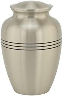 Silverlight Urns Three Bands Urn in Pewter - Extra Large Funeral Urn, Silver Finish Brass Urn for Ashes