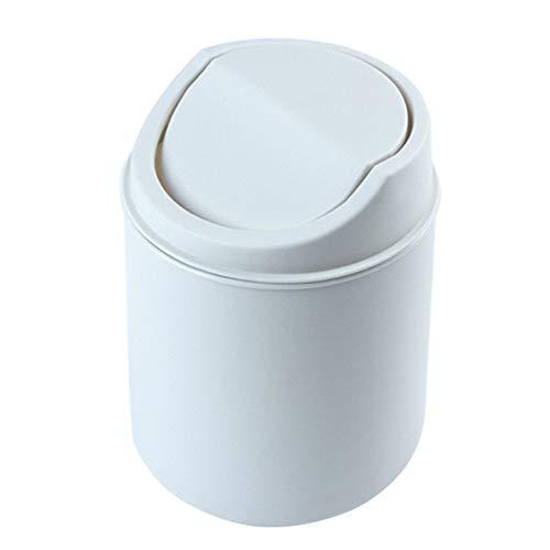 Setsail Desktop Mini Mülleimer Tisch Mülleimer Papierkorb Tischmülleimer aus Edelstahl,Abfalleimer Schwingdeckeleimer Tischabfalleimer (Weiß)
