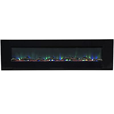 """Touchstone ValueLine 72"""" 10-Color, in-Wall Recessed, Electric Fireplace, 72 Inch Wide, Logset & Crystal, 1200W Heat (Black)"""