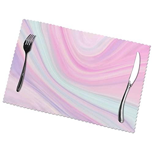 Manteles Individuales para Mesa de Comedor, Cocina, Restaurante, Fondo de Textura de mármol en Colores Pastel tiernos, 12 x 18 Pulgadas