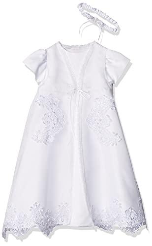 Lauren Madison Baby Girls' Christening Baptism 3 Piece Organza Dress with Separate Coat, White, 9-12 Months