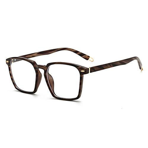 Bloqueo Luz Azul Gafas,Anteojos De Ordenador De Moda, Marco Cuadrado Retro para Hombre, Anteojos Ópticos Transparentes para Mujer, Anteojos para Juegos Unisex Anti Fatiga Ocular, Rayas De Madera
