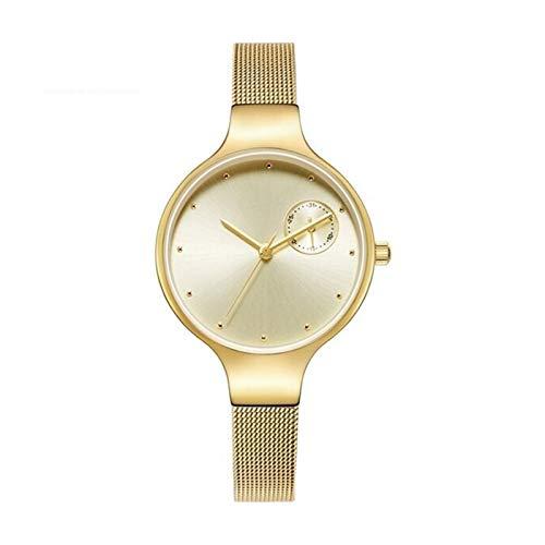JCCOZ-URG Impermeable Simple Nuevo Reloj de la Manera Mujeres de los Relojes del Reloj de Vestir Mujer Lujo de la Marca de Las señoras Reloj de Cuarzo URG (Color : Golden in Box)