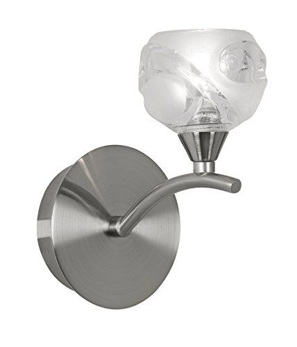 Oaks Lighting Korra Lampe murale finition Chrome satiné avec Design Abat-jour en verre Transparent
