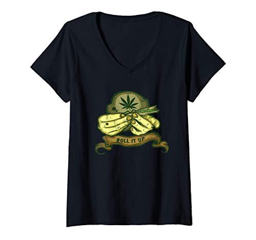 Mujer Bote de regalo y regalo de marihuana. Camiseta Cuello V