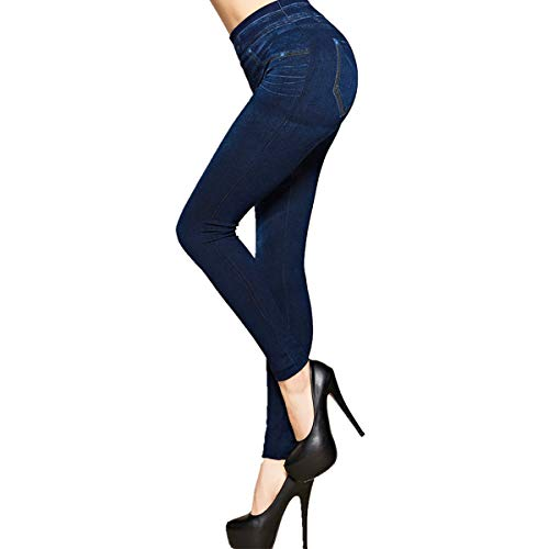 SLIMBELLE® Femme Leggings Imitation Jean Jeggings Taille Haute Collant Slim Denim Pantalon de Crayon pour l'Été