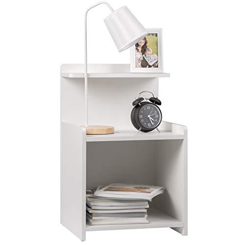 WOLTU Nachttisch TS102ws Nachtkommode Nachtschrank Beistelltisch Sofatisch mit Ablagefläche, aus MDF, 40x35x62cm, Weiß