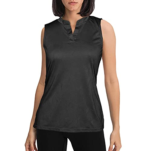 Sleeveless Polo Shirts for Women Golf Collared Tank Top for Athletic, Tennis, Golfing, Quick Dry