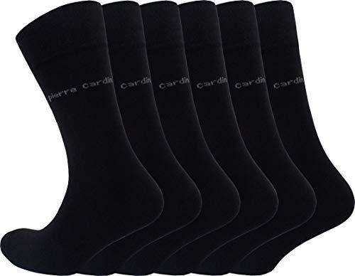 Pierre Cardin 6-9-12 oder 18 Paar Sonderangebot Herren Business-Socken Baumwoll-Socken Anzug-Socken Schwarz (6, 43-46)