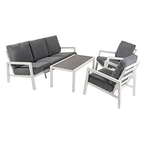 Conjunto sofás jardín, Aluminio Reforzado Color Blanco, Sofá 3 plazas + 2 sillones...