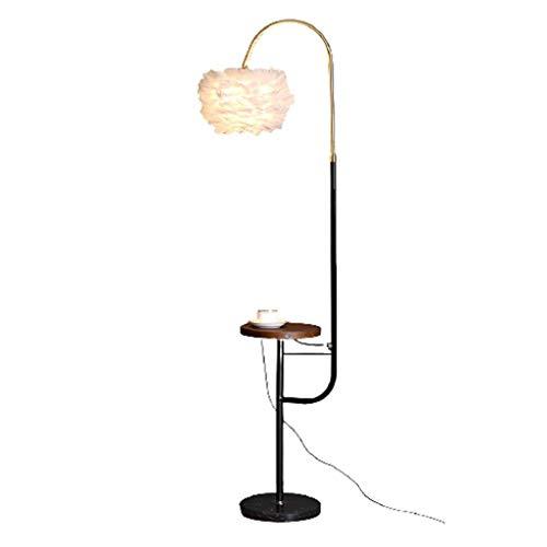 YQGOO Lámpara de pie Lámpara de pie Moderna de Plumas, luz de Suelo de Bandeja para lámpara de pie para el hogar, luz de pie para Sala de Estar, Dormitorio, FL