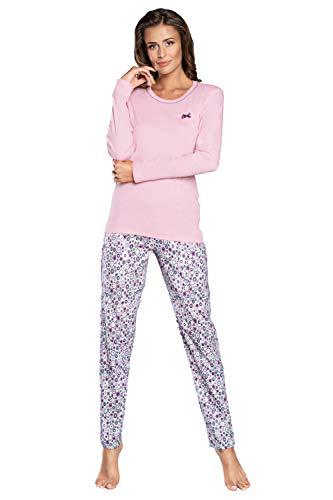Damen Schlafanzug lang Pyjama Set | Nachtwäsche Hausanzug Langearm Zweiteiliger Sleepwear (L, Rosaa)