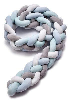 protector cuna chichonera - Cama Bebé Trenzado Parachoques Cojín Protectores Para Cunas y Camas de Bebé, Blanco/gris/azul, cuatro hilos 220 cm