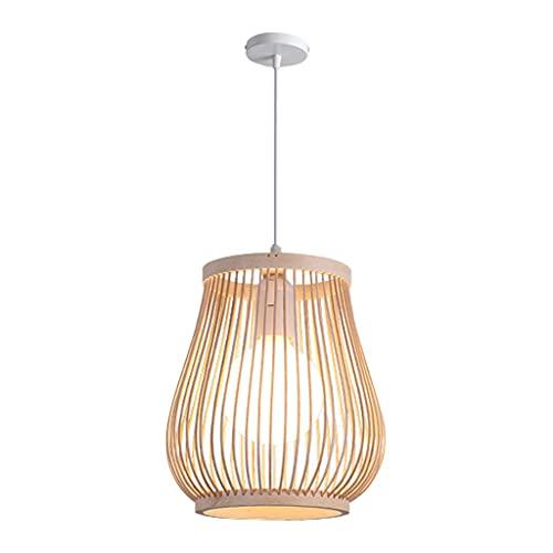 Baoblaze Lámpara Colgante de Linterna de bambú, Estilo Retro japonés E27, lámpara Colgante para Techo, lámpara para Restaurante, cafetería, casa de té, Bar,