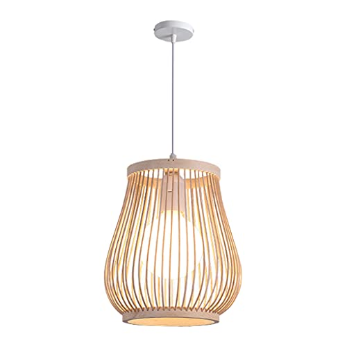 Fenteer Lámpara Colgante Retro de Una Sola Luz, Pantalla de Ratán de Bambú Natural, Lámpara de Bambú para Pasillo, Lámpara de Techo, Lámpara Colgante, Iluminación Colgante para Salón de Té
