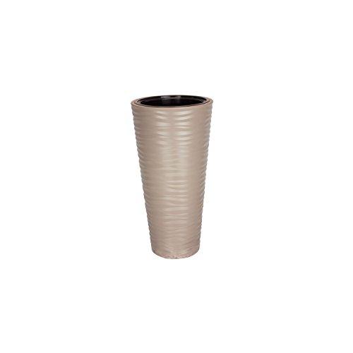 Pot de fleurs Pot de fleurs avec insert Beige Structure ondulés brillant H 57 cm Sahara
