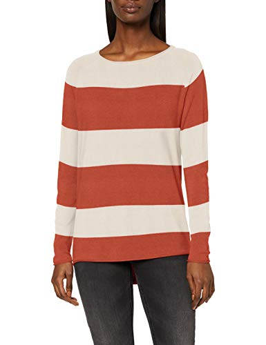 VERO MODA Damen VMNELLIE Glory LS Long Blouse Color Pullover, Birch/Stripes:Auburn, M