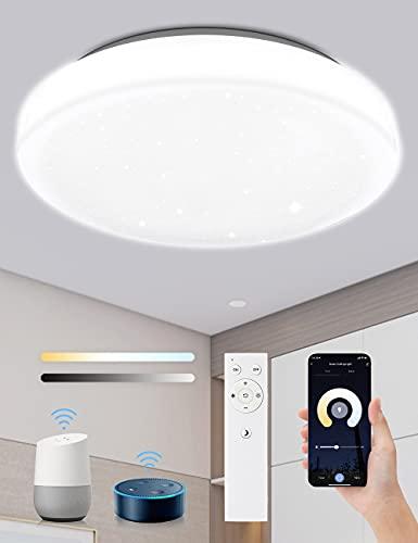KOOSEED Plafon LED Techo 24W Compatible con Alexa/Google Home, Lampara Led Techo Redondo 40cm Controlado por Voz y APP, Plafón Led Techo Regulable de IP54,Frio-Calido,2400LM, en Dormitorio Baño Cocina