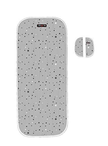 Tris&Ton colchoneta silla de paseo ligera universal para carrito cochecito bebe transpirable de microfibra + protección de arneses (Trisyton) (Star Black)