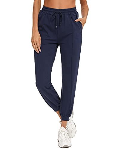 Irevial Pantalon de Sport Femme Long avec Poches Pantalon de Survêtement Idéal pour Sport Yoga et Fitness Jogging Grande Taille