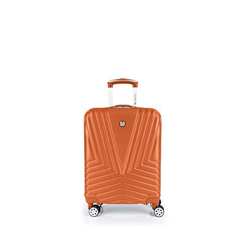 Gabol - Atlanta   Maleta de Cabina con Cargador USB Rigida de 40 x 55 x 20 cm con Capacidad para 34 L de Color Naranja