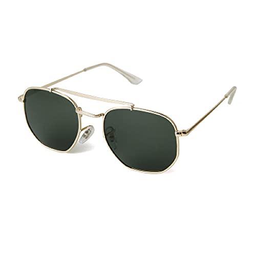 Gafas De Sol Gafas De Sol Clásicas Mujeres Hombres Retro Marco De Metal Gafas De Sol Piloto Gafas De Sol Polarizadas Uv400 Verde Dorado