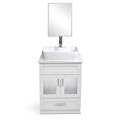 24 Inch White PVC Board Bathroom Vanity and Sink Combo - with Mirror and Water Saving 1.5 GPM Chrome Faucet Counter Top Floor Cabinet