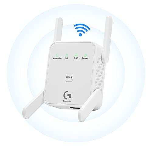 Repetidor WiFi 1200Mbps,Amplificador Señal WiFi Banda Dual 2.4GHz y 5GHz Extensor de Red WiFi,con Puerto Ethernet, WPS, Modo Ap/repetidor/enrutador/Cliente, Compatible con Todos los enrutadores