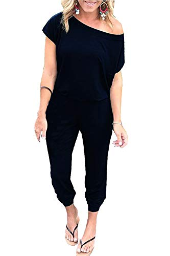 PRIMODA Women Off Shoulder Short Sleeve Jumpsuit Elastic Waistband Romper Overall with Pockets(XL Black)