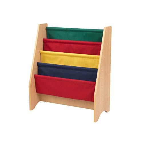 KidKraft 14226 Porte livres en bois et tissu, chambre enfant, meuble de rangement - couleurs primaires et coloris naturel