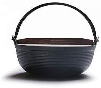 Pan, 19 cm, gietijzer, soeppan voor kookgerei, wildkeuken, Guiso brood met houten afdekking voor algemeen gebruik van gas en inductie.