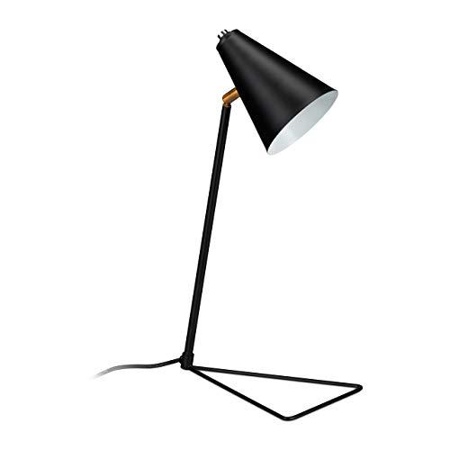 Relaxdays Deko Tischlampe mit dreieckigem Fuß, verstellbarer Schirm, E27, Eisen, H x B x T: 47 x 24,5 x 16 cm, schwarz