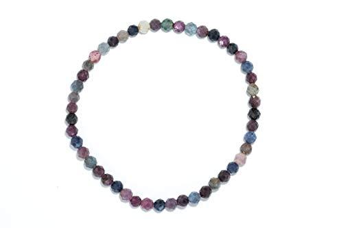 Taddart Minerals – Buntes Armband aus dem natürlichen Edelsteinen Rubin und Saphir mit facettierten 4 mm Kugeln auf elastischem Nylonfaden aufgezogen - handgefertigt