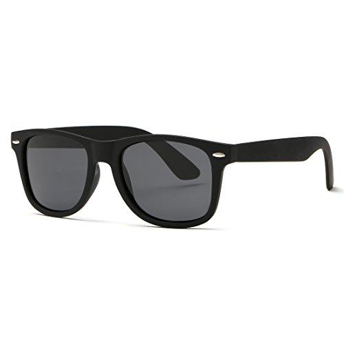 kimorn Polarizado Gafas De Sol Clásico Unisexo Cuerno Rimmed Años 80 Retro AE0300 (Negro, 52)