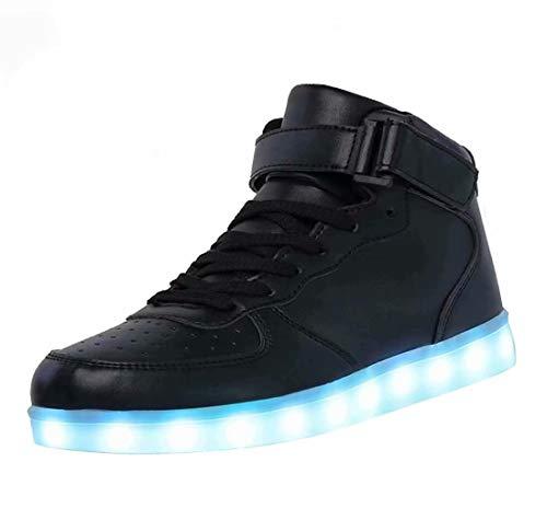 High Top LED Schuhe USB Sneakers für Männer Frauen mit Fernbedienung-42 (schwarz)